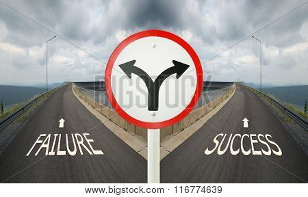 Fork Junction Traffic Sign With Crossroads Spliting In Two Ways, Choose Failure Or Success Road