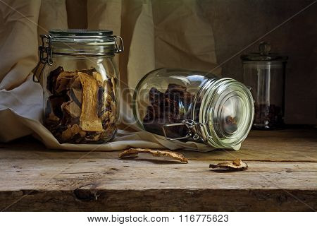 Glass Jars With Dried Food On An Rustic Wooden Shelf, Countryside Still Life