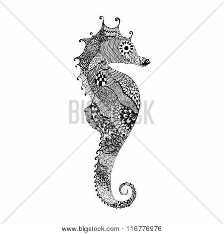 Zentangle stylized black Sea Horse. Hand Drawn vector illustrati