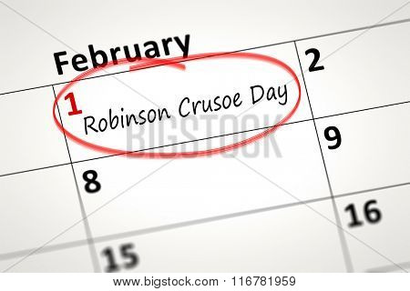 calendar detail shows the Robinson Crusoe Day at first of February poster