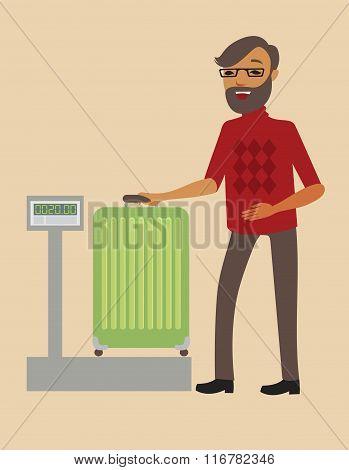 Passenger Weighing His Suitcase