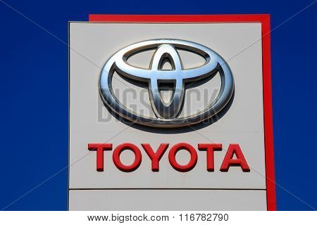 Tel Aviv, Israel - February 15, 2016: Toyota emblem at one of Toyota's auto dealerships, Toyota is the world's largest automobile manufacturer