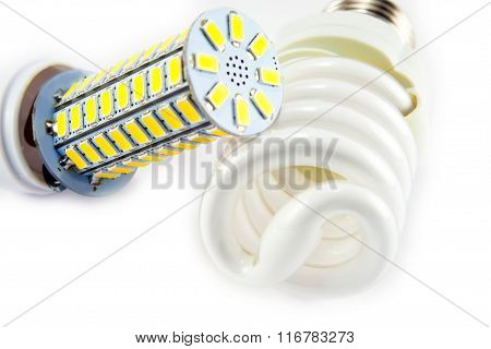 Fluorescent And Led Light Bulb Isolated On White Background