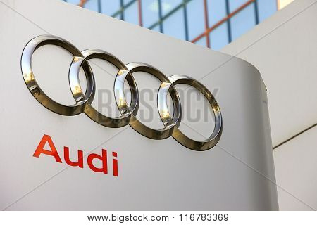 Audi emblem at one of Audi's auto dealerships