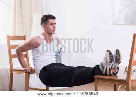 Creative Muscular Man During Training