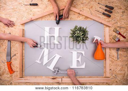 Home Word On Hardboard