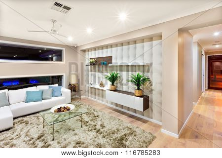 Living Room Interior Of A Luxurious House With Lights On