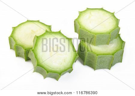 Sliced Angled Loofah On White Background