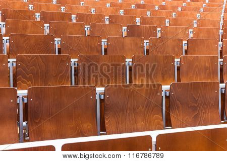 Close Up Of Chair Array In Modern Lecture Auditorium