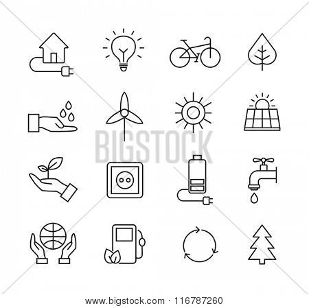 Set of icons representing ecology, environment, renewable energies, nature conservation. Infographic modern thin lines vector design.