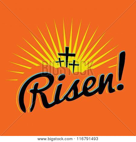 Risen Christian Easter Text Illustration