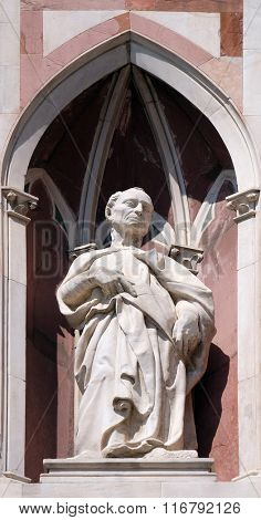 FLORENCE, ITALY - JUNE 05: The Beardless Prophet by Donatello, Campanile (Bell Tower) of Cattedrale di Santa Maria del Fiore (Cathedral of Saint Mary of the Flower), Florence, Italy on June 05, 2015