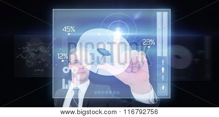 Unsmiling businessman in suit pointing up his finger against global business interface