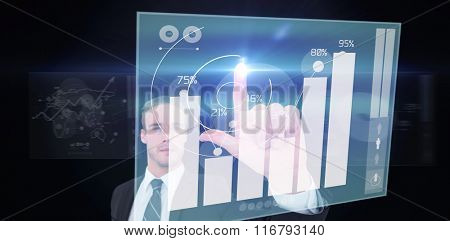 Unsmiling businessman in suit pointing up his finger against percentages graphical representation