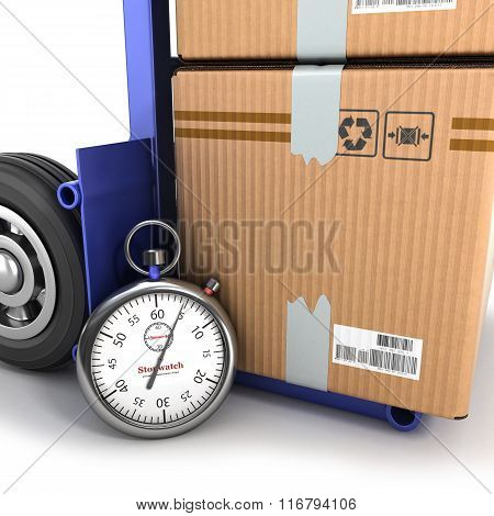 Concept Of Fast Delivery, The Box On The Truck And The Stopwatch Beside Them