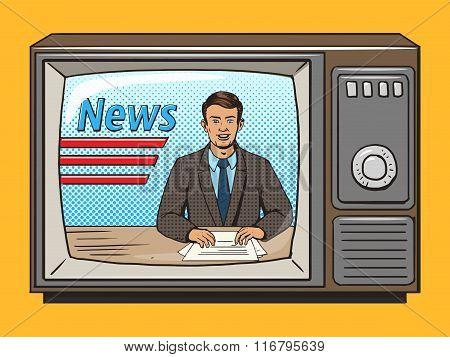 News presenter on tv pop art style vector