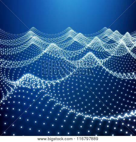 Water Surface. Wavy Grid. Lattice Structure. Ripple Grid. 3D Technology Style. Abstract Grid Background. A Glowing Grid. 3D Network Design. Digital Abstract Background. 3D Vector Illustration.