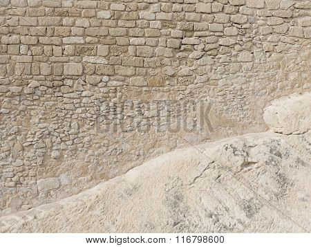 Very Old Wall Of Sand Stone Blocks