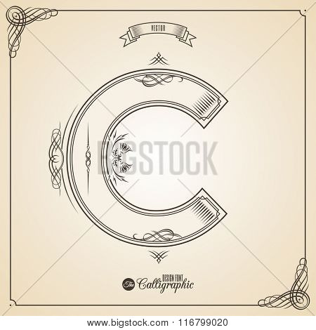Calligraphic Fotn with Border, Frame Elements and Invitation Design Symbols. Collection of Vector glyph. Certificate and Decor Design Elements. Hand written retro feather Symbol. Letter C