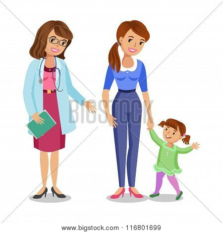 Woman With Little Girl Visiting Doctor In Clinic, Mother And Daughter With Physician. Vector