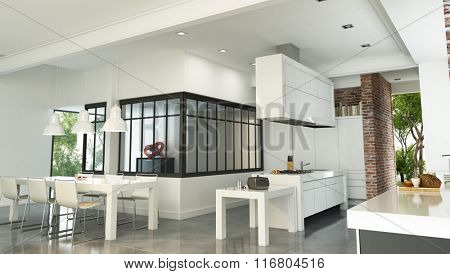 3D rendering of a luxurious industrial style interior with a magnificent integrated kitchen