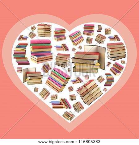 Love To Books. A Collage With Books And Heart.
