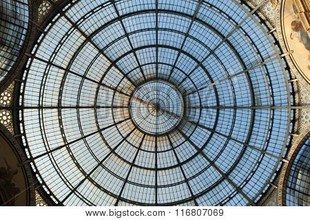 MILAN, ITALY - NOVEMBER 6, 2015: Glass dome of the Galleria Vittorio Emanuele II in Milan, Lombardy, Italy.