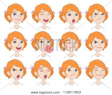 Cartoon girl's emotions and expressions set.