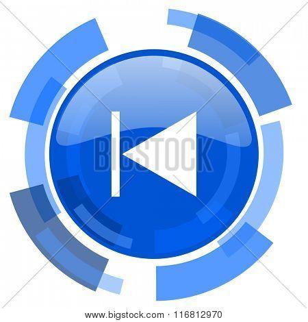 prev blue glossy circle modern web icon