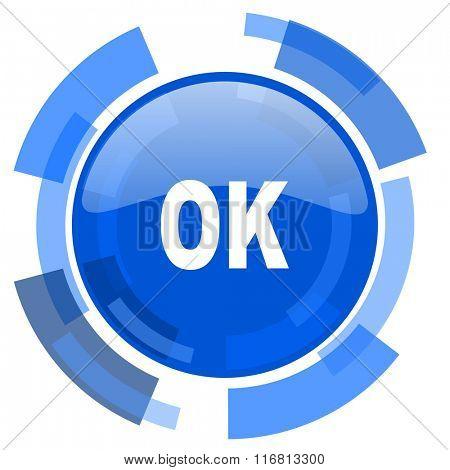 ok blue glossy circle modern web icon