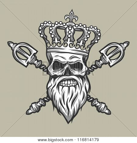Skull, crown and royal scepter.