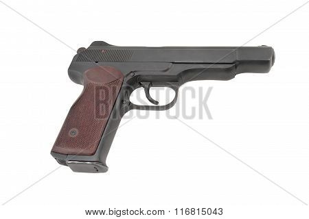 APS (automatic pistol of Stetchkin). 9mm. 20 cartridges. Very strong. Designed after the WWII. Popular by special units (in Afghanistan) nowdays also by Chechen rebels. Russia poster