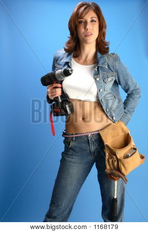 Female Model With A Drill