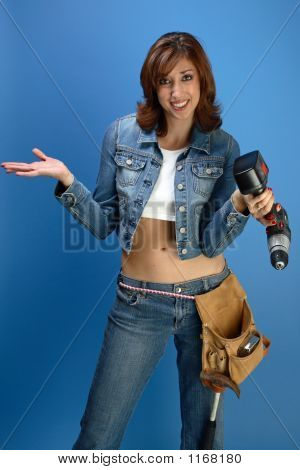 Female Model With A Drill 2