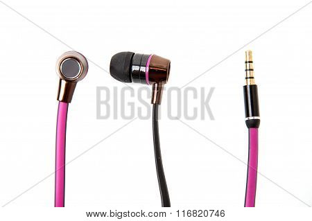 Pink Wired Earphones Isolated Over White