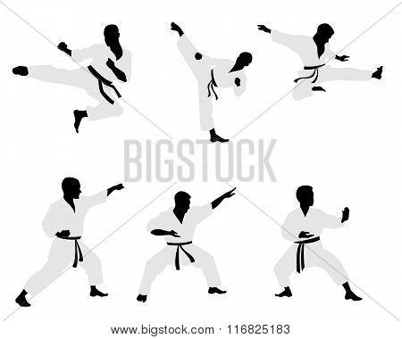 Six Karateka Silhouettes