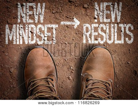 Top View of Boot on the trail with the text: New Mindset - New Results