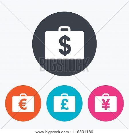 Businessman case signs. Cash money icons.
