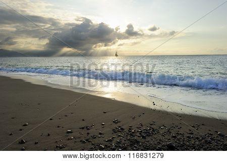 Sailboat  Silhouette Sunrays