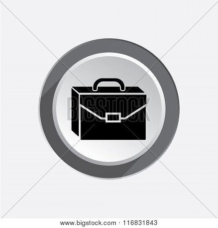 Baggage icon. Luggage for traveling. Transportation info symbol. Brief-case. Black sign on white-gra
