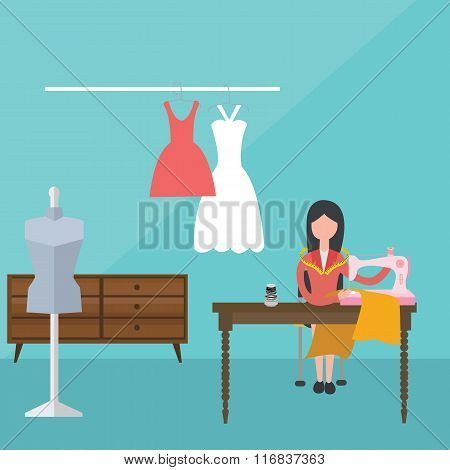 women female sewing machine dress tailor clothes material fabric fashion dressmaker vector poster