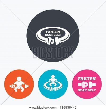 Fasten seat belt signs. Child safety in accident