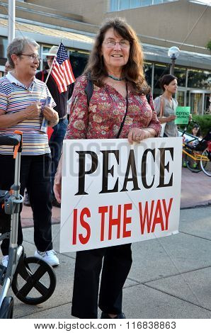 Odile Hugonot-haber At Peace Rally, Ann Arbor, Mi