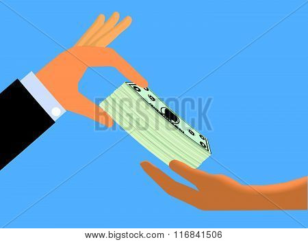 Hand Handing Cash To Another Hand