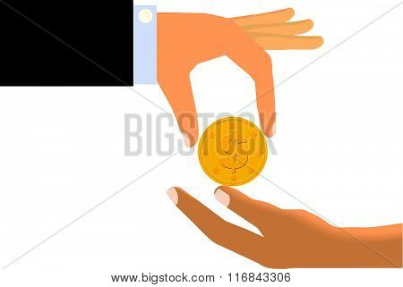 Hand Handing Coin To The Limp Hand of Another Person (Isolated)
