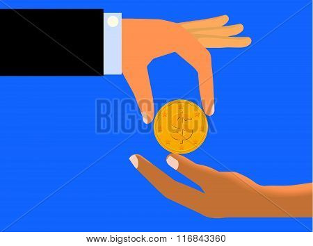 Hand Handing Coin To The Limp Hand of Another Person