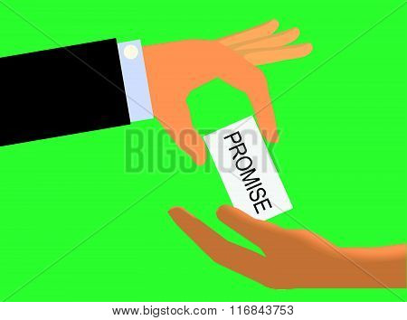 Hand handing a Promise Note to another hand
