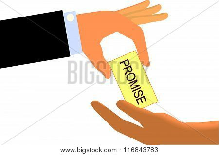 Hand handing a Promise Note to another hand (Isolated on white background)