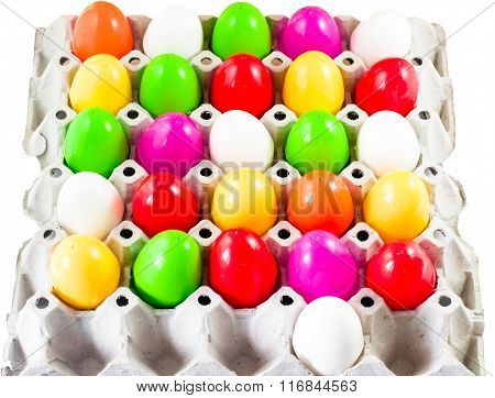 Fancy Or Colorful Of Egg In Spawn Box With White Background. Soft Focus