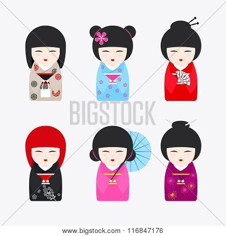 Japanese Kokeshi Dolls icons